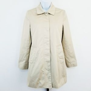 Coach Button Front Khaki Trench Coat Jacket XS